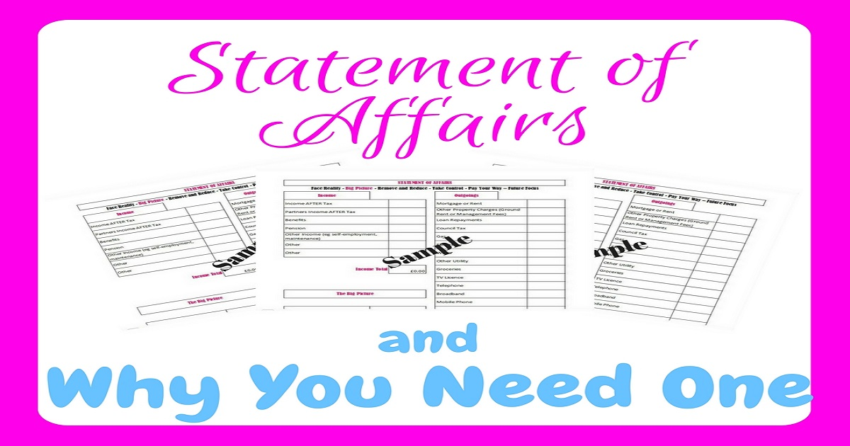 statement of affairs, debt busting, tackle your debt, repay debt, debt, debt repayment, debt free, debt freedom