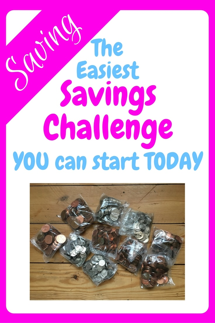 easiest savings challenge, image showing a pile of loose change bagged up ready to go to the bank