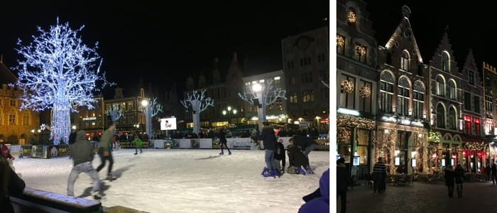 An image of the markt at night. There is a christmas market, all the buildings are dressed with sparkly christmas lights and there is an ice rink