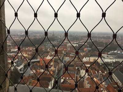 The view from the top of the Belfort in Bruges - you can see quite far in to the distance across the rooftops of Bruges