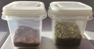 An image of two small plastic tubs. Each one containing a different spice mix - Chilli and Bolognese
