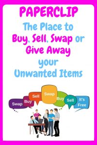 Paperclip - The place to buy, sell, swap or give away your unwanted items - an image of people with multicoloured speech bubbles which say buy or sell or swap