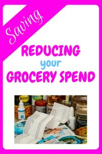 Reducing your grocery spend - and image of tins of food with a long shop receipt