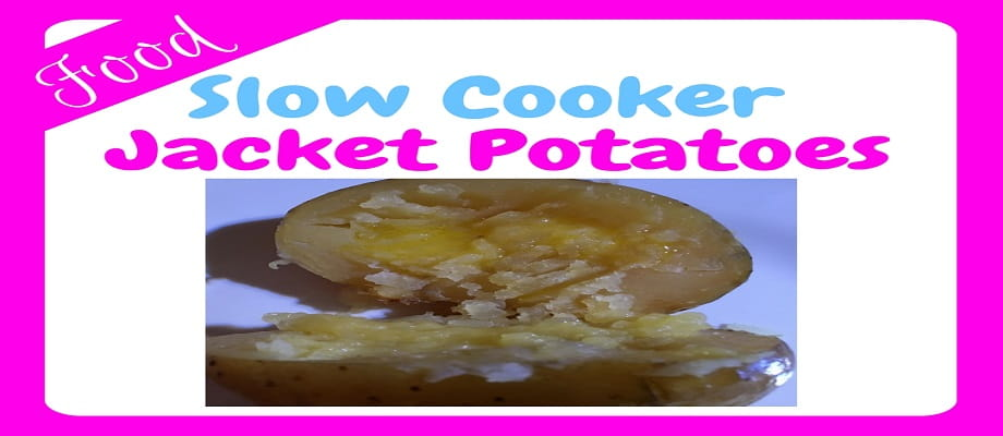 Slow Cooker Jacket Potatoes - an image of a cooked jacket potato