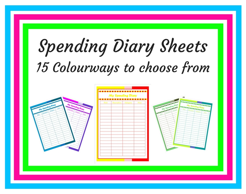 Spending diary sheets - 15 colours to choose from - an image of the spending diary sheets that are available for purchase