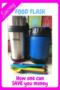 Image showing two different food flasks and some colourful plastic picnic cutlery