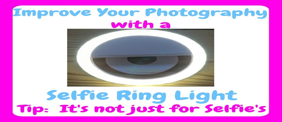 Selfie Ring Light - Image show a white selfie ring light that is lit up with 36 leds - it also states at the bottom 'not just for selfies'