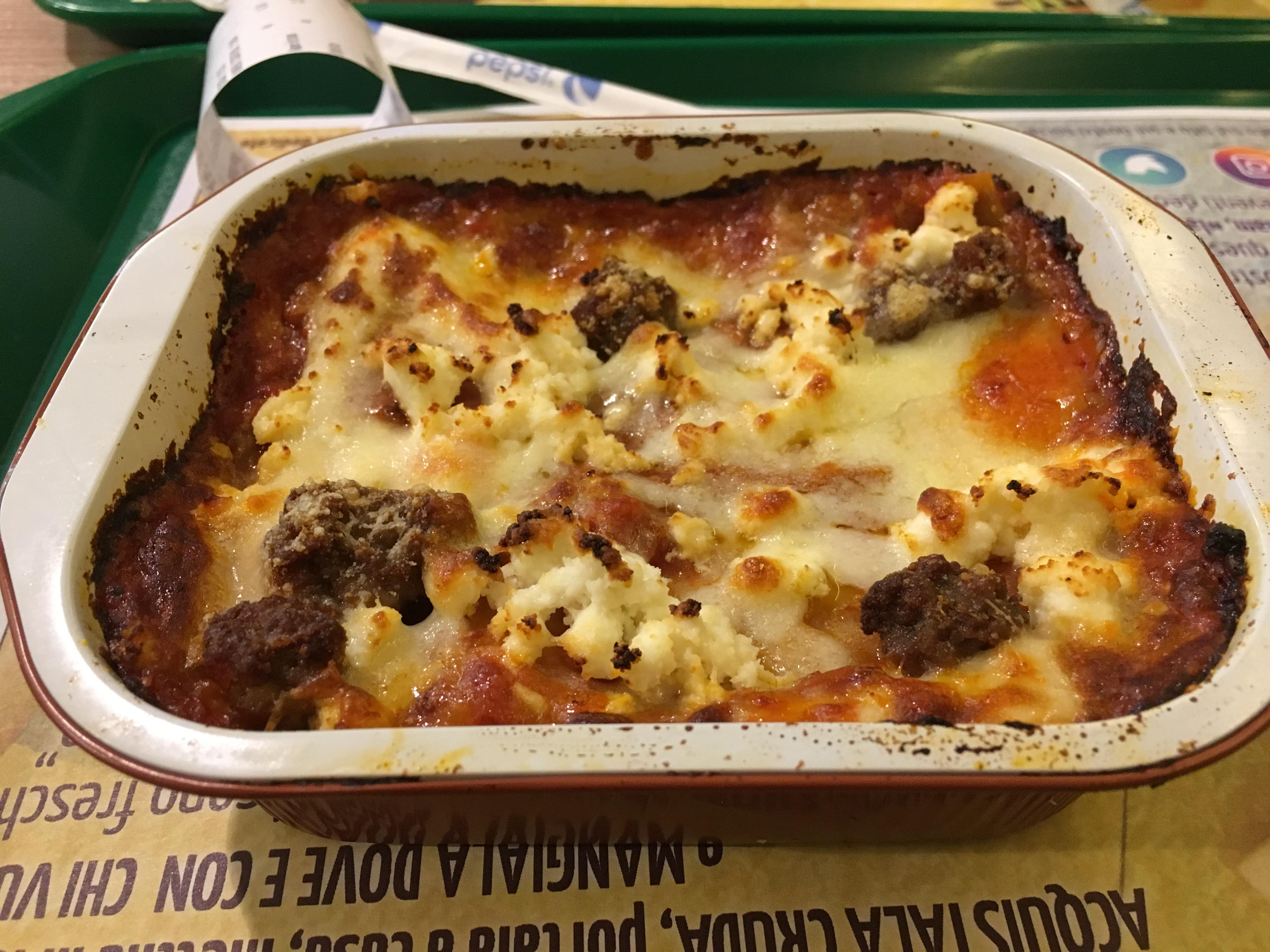 An image of a lasagne which was purchased from a takeaway lasagne shop in rome, Italy