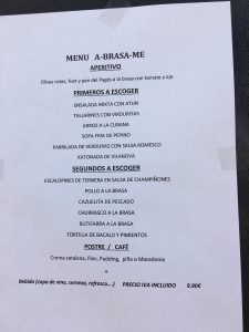 An image of a menu del dia menu in a Barcelona restauarant