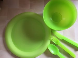 An image showing green plastic picnic plates, bowls and cutlery